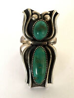 Signed S.P. Navajo Green Turquoise Gorgeous Ladies Spider Ring Sterling Sz 7.5