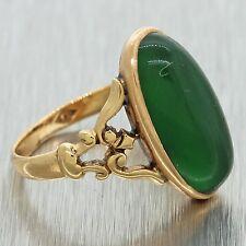 1920s Antique Art Deco Estate 14k Solid Rose Gold Green Stone Filigree Ring