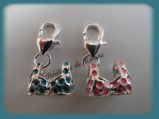 LOT 2 CHARMS BRELOQUE A FERMOIR METAL ARGENTE MAILLOTS BLEU / ROSE - BIJOUX AE4