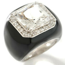 NWT HSN CL by Design 15.48ct Quartz White Topaz Enamel Sterling Silver Ring 8