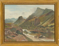 Framed 20th Century Oil - Mountain Landscape with Cows