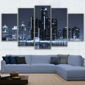 Detroit Michigan Cityscape Skyline Dark Night 5 Panel Canvas Print Wall Art
