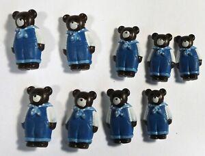 Vtg JHB International Realistic Novelty Plastic Resin BUTTONS Blue Overalls Bear
