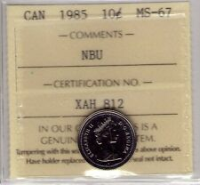 1985 Canada 10 Cent NBU ICCS MS-67, Very Affordable for New Hobbyist