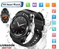 V8 Smartwatch Bluetooth Intelligente Montre Connectee pour Smartphone TF Sim