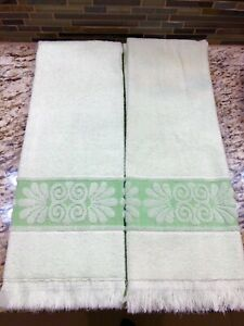 2 Vintage 1970's Cannon Monticello Sculpted Bath Towels Mint Green NEW