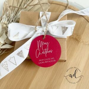 12 RED Personalised Christmas Gift Tags Xmas Presents Gifts Labels Merry Tag