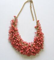 """Fashion Necklace -Choker Style- coral color beads- gold tone-15.5""""-18.5"""""""