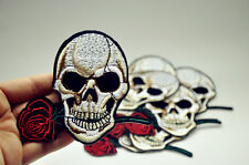 Rose Skull Embroidered Sew On Iron On Patch Badge Clothes Fabric Applique Craft