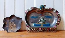 Iwo Jima / Wise Woman Lot (2) Jewelry Ashtray / Pin Trays Vintage Metal Trinkets