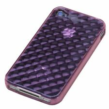 For Apple iPhone 4 4S TPU CANDY Gel Flexi Skin Case Phone Cover Purple Diamond