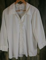 Kate Hill Womens 16W White Ruffled Button Down Long Sleeve Shirt Poly Cotton