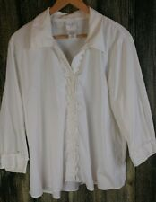 Kate Hill Womens 16W White Ruffled Button Down Long Sleeve Shirt Poly Cotton