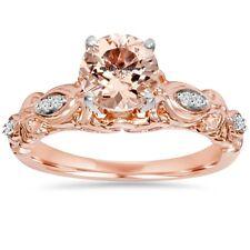 2.Ct Morganite & Lab Diamond Vintage Engagement Ring Two-Tone Gold Finish $799