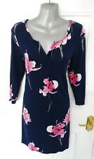 ❤ JOULES Size 8 Navy Blue Pink Floral Soft Feel Stretchy Nightie Nightdress PJS