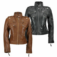 New Black Brown Ladies Womens Real Leather Slim Fit Soft Zip Biker Style Jacket