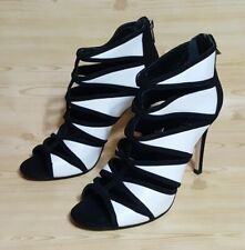 Ivanka Trump Black White Leather Open Toe Bootie Zip Up Womens Shoes 8.5 M
