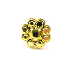 Indian Style flower gold Piercing Nose Stud nasenring Pin Real 14k Yellow Gold