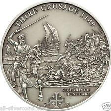 3rd.Crusade-Richard the Lionheart Silver Antique  Coin 5$ Cook Islands 2010