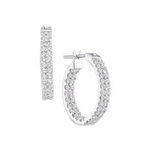 14k White Gold Round Diamond Inside Outside Double Row Hoop Earrings 1.00 Cttw