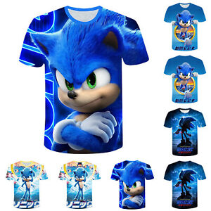 Kinder Jungen Mädchen Sonic The Hedgehog 3D Kurzarm T-Shirt Pullover Basic Tops