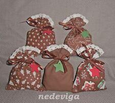 Adventskalender Stoff-Säckchen 24 Beutel - Weihnachtsdorf - braun - Handarbeit