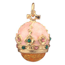 Faberge Egg Pendant / Charm Crown with crystals 2.4 cm pink #0801-04