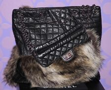 CHANEL Quilted Calf Fantasy Fur *KARL'S CABAS* Tote XL Chain Reissue Bag LIMITED