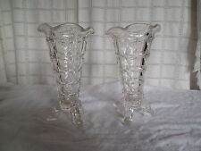 Vintage block pattern, art deco 3 footed glass vases set of 2 vases