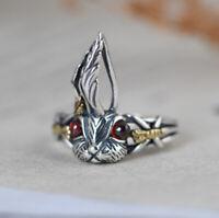I05 Ring Hase Kaninchen mit roten Augen Sterling Silber 925 größenverstellbar