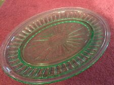 Single Oval Shaped Green Glass Platter With Starburst Design