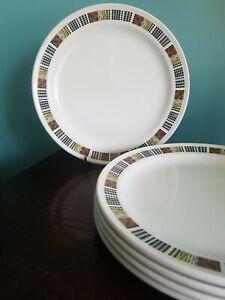 5 Vintage Royal Doulton Steelite Tweed  Dinner Plates Mid Century Modern