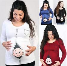 Cute Pregnant Maternity Clothes Nursing Tops Mom Breastfeeding T Shirt Plus Size
