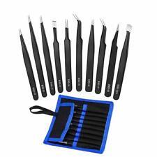 Pinzas Precisión de Acero Inoxidable 9Pcs Juego de Herramientas de Reparación Anti Static no magnético