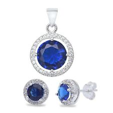 Round Halo Blue Sapphire & Cubic Zirconia .925 Sterling Silver Earring & Pendant