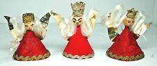 Vintage Angel Christmas Ornament Germany Foil Paper Silk Hair Wood Head Red 2.5""