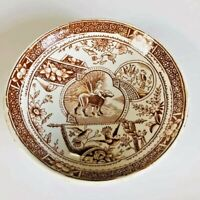 Antique 1880 Brown Aesthetic Transfer ware Saucer Little Girl with Dog #766 by E