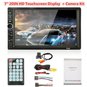 2Din Touchscreen Car Radio Stereo Player BT/USB/TF/Aux-In/Mirror Link Camera Kit