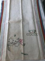 VTG Tea Towel KITTY CAT & TEA  CUP - HAND EMBROIDERED GOOD CONDITION
