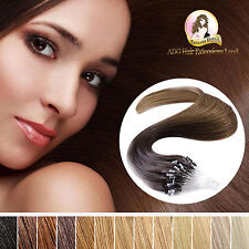 "20"" Real Indian Remy Easy Micro Loop Human Hair Extensions 100g  #6 Light Brown"