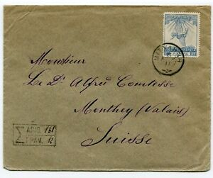 Greece multifranked R-cover Mitlini to Monthey Switzerland 1913