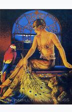Pin Up Girl Poster 11x17 art deco exotic flapper girl maiden full moon