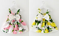 Newborn Baby Girl Kids Toddler Lemon Cotton Dress Gowns Skirt Clothes Party Gift