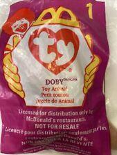 """McDonalds 1993 Tag Ty Teenie Beanie Baby """"Doby� Doberman Dog 1998 Package #1"""