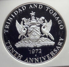1972 TRINIDAD and TOBAGO Islands 10th HUGE 4.2cm Proof Silver Coin NGC i72150