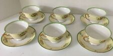 Vintage Meito Pattern MEI483  Cup & Saucer  ~ Green Florals Cream & Gold