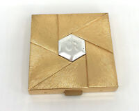 Charles of the Ritz Pressed Powder Compact Pinwheel Gold Case Signed Puff Vtg