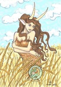 Barley Cartoon Goat Nymph field L/E Hand Embellished Fantasy ACEO art PRINT ejw