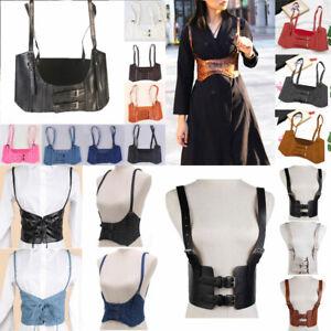 Women's PU Leather Body Harness Adjustable Strap Waist Belt Vest Corset Vintage.