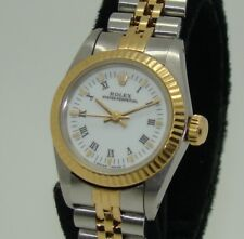 ROLEX WOMENS STEEL AUTOMATIC OYSTER PERPETUAL WHITE ROMAN DIAL WATCH 67193 C'90